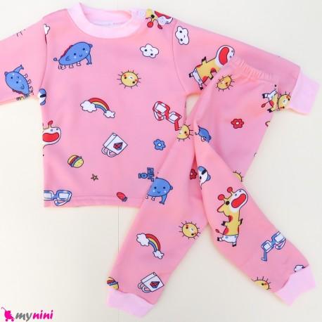 ست بلوز و شلوار گرم توکُرکی بچگانه صورتی ابر و رنگین کمان Baby warm clothes set
