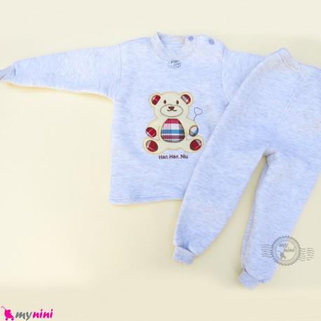 ست بلوز و شلوار گرم 3 لایه بچگانه طوسی خرس Baby warm clothes set