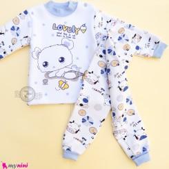 ست بلوز و شلوار گرم توکُرکی بچگانه سفید و آبی لاولی Baby warm clothes set