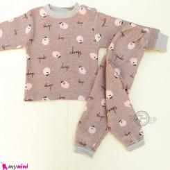ست بلوز و شلوار گرم توکُرکی بچگانه نسکافه ای گوسفند Baby warm clothes set
