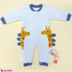 سرهمی گرم 3 لایه بچگانه زرافه آبی Baby warm sleepsuits