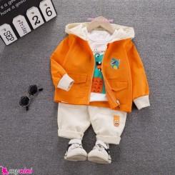 لباس 3 تکه کتان بچه گانه اسپرت نارنجی کروکودیل مارک فشن هپینِس baby hooded cardigan set