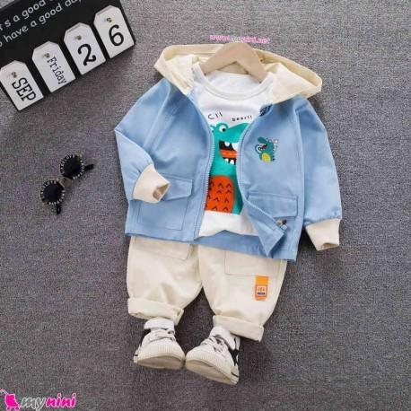 لباس 3 تکه کتان بچه گانه اسپرت آبی کروکودیل مارک فشن هپینِس baby hooded cardigan set