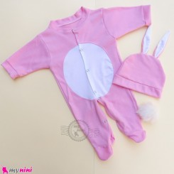 ست سرهمی پوم دار و کلاه گوش دار نوزاد و کودک صورتی خرگوش Baby hat and sleepsuits set