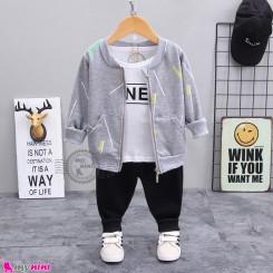 لباس 3 تکه اسپرت سویشرت دار بچگانه طوسی مارک بوهوآنا bohuana baby coat set