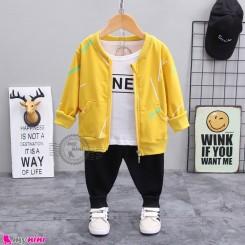 لباس 3 تکه اسپرت سویشرت دار بچگانه زرد مشکی مارک بوهوآنا bohuana baby coat set