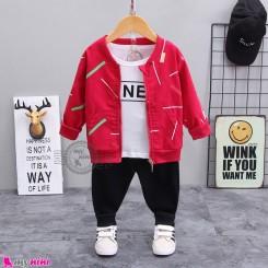 لباس 3 تکه اسپرت سویشرت دار بچگانه سرخابی مشکی مارک بوهوآنا bohuana baby coat set
