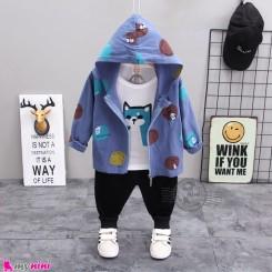 لباس 3 تکه سویشرت دار بچگانه الیاف طبیعی آبی گربه مارک بوهوآنا bohuana baby coat set