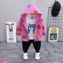 لباس 3 تکه سویشرت دار بچگانه الیاف طبیعی صورتی مشکی گربه مارک بوهوآنا bohuana baby coat set