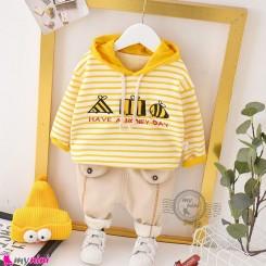 ست هودی و شلوار گرم تو خز 2 تکه زرد زنبور Baby warm clothes set
