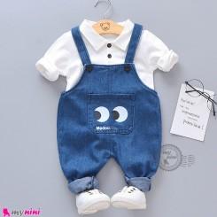ست شلوار پیشبندی لی و پولوشرت آستین بلند سفید بچگانه baby overall set
