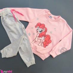 ست بلوز و شلوار دورس بچگانه صورتی طوسی پونی Baby warm clothes set