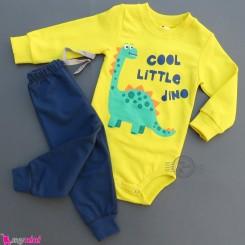 ست بادی بلند و شلوار نخی دورس زرد فسفری و سرمه ای دایناسور Baby clothes set