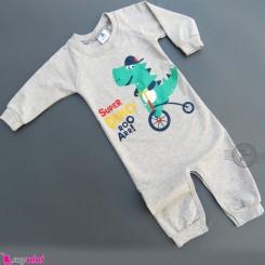 لباس سرهمی بچگانه نخی دورس طوسی دایناسور Baby warm cotton sleepsuits