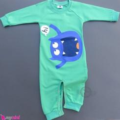 لباس سرهمی بچگانه نخی دورس سبز غول Baby warm cotton sleepsuits