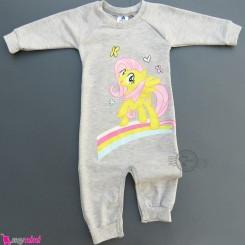 لباس سرهمی بچگانه نخی دورس طوسی پونی Baby warm cotton sleepsuits