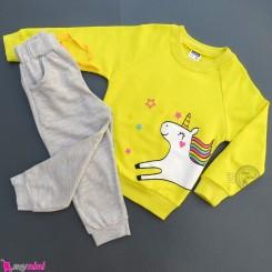 ست بلوز و شلوار دورس بچگانه زرد طوسی یونی کورن Baby warm clothes set
