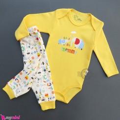 ست لباس بادی بلند و شلوار نخ پنبه ای نوزاد و کودک زرد فیل Baby clothes set