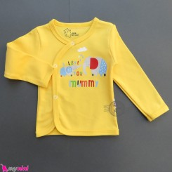 بلوز جلودکمه دار نخ پنبه ای نوزاد و کودک زرد فیل Baby cotton shirt