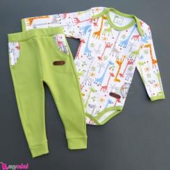 ست لباس بادی بلند و شلوار نخ پنبه ای نوزاد و کودک سبز زرافه Baby clothes set