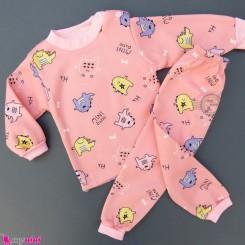 ست بلوز و شلوار گرم توکُرکی بچگانه صورتی مینی دایناسور Baby warm clothes set
