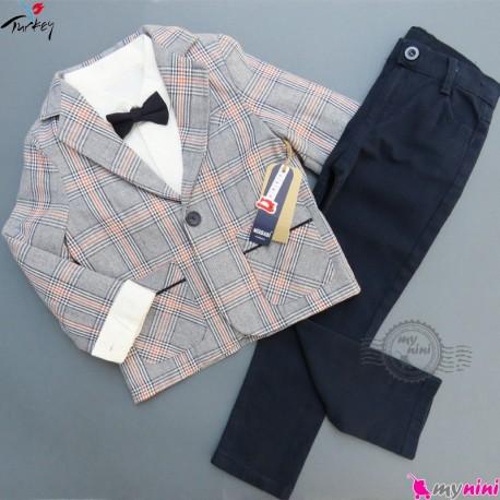 کت و شلوار بچگانه 4 تکه چهارخانه مارک میکس بیبی ترکیه mix babi boy coat set
