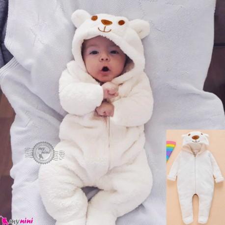 سرهمی کلاهدار گرم عروسکی خز شیری خرس وارداتی baby fleece hooded pajamas