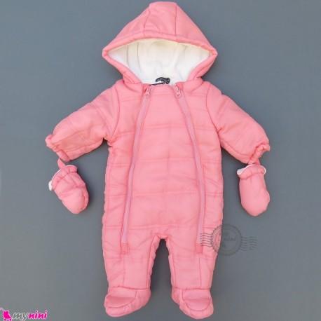 سرهمی گرم کاپشنی نوزاد و کودک مارک اورجینال این اکستنسو صورتی IN Extenso baby warm jumpsuits