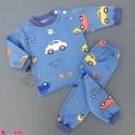 ست بلوز و شلوار گرم توکُرکی بچگانه آبی تیره ماشین Baby warm clothes set