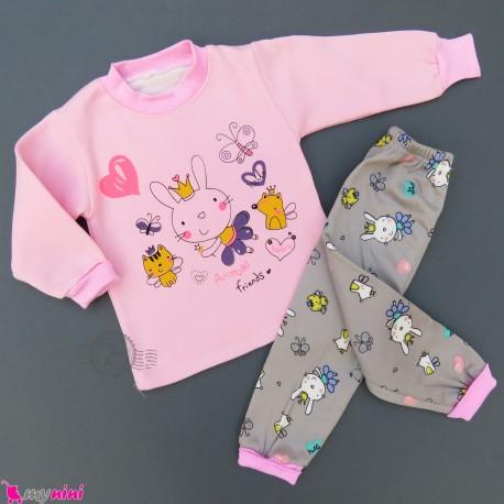 ست بلوز و شلوار گرم توکُرکی بچگانه صورتی پرنسس خرگوش Baby warm clothes set