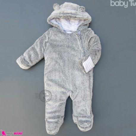 سرهمی کاپشنی خز کلاهدار خرسی طوسی مارک اورجینال بیبی تو Baby TU warm jumpsuits
