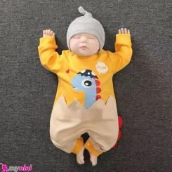 سرهمی نوزاد و کودک نخ پنبه ای زرد جوجه دایناسور مارک اورجینال YIERYING