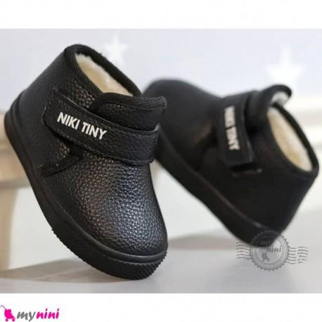 کفش ساقدار اسپرت داخل خز بچگانه مشکی نیکی تاینی Baby shoes
