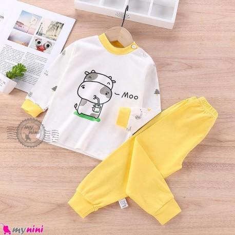 بلوز و شلوار نخی بچگانه وارداتی سفید زرد گاو Baby clothes set