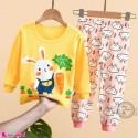بلوز و شلوار نخی بچگانه وارداتی خرگوش زرد صورتی Baby clothes set