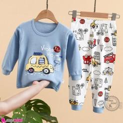 بلوز و شلوار نخی بچگانه وارداتی آبی ماشین Baby clothes set