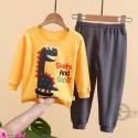 بلوز و شلوار نخی بچگانه وارداتی دایناسور زرد و نوک مدادی Baby clothes set