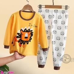 بلوز و شلوار نخی بچگانه وارداتی زرد شیر Baby clothes set