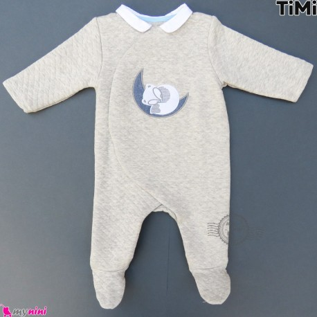 سرهمی بچگانه 2 لایه طوسی سنجاب مارک اورجینال تیمی Timi Baby sleepsuits