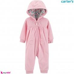 سرهمی کلاهدار مخمل گرم صورتی مارک کارترز اورجینال دو جیب Carters baby hooded warm jumpsuits