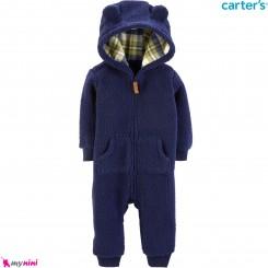 سرهمی کلاهدار خز شرپا گرم مارک کارترز اورجینال سرمه ای داخل کلاه چهارخانه Carters baby hooded warm jumpsuits