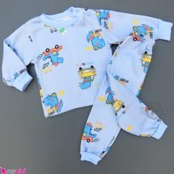 ست بلوز و شلوار گرم توکُرکی بچگانه آبی دایناسور و ماشین Baby warm clothes set