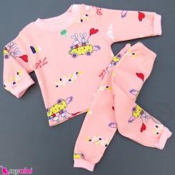 ست بلوز و شلوار گرم توکُرکی بچگانه صورتی هویج و خرگوش Baby warm clothes set