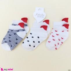 جوراب 3 عددی نخ پنبه ای بچگانه قلبی مارک کاتامینو Baby cotton socks