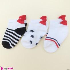 جوراب 3 عددی نخ پنبه ای بچگانه راه راه و ستاره مارک کاتامینو Baby cotton socks
