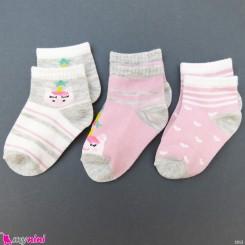 جوراب 3 عددی نخ پنبه ای بچگانه یونی کورن مارک فیلاردی filardi Baby cotton socks