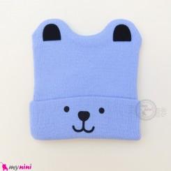 کلاه بافت گوشدار 2 لایه طرح پو آبی Baby warm hat