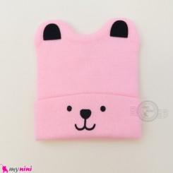 کلاه بافت گوشدار 2 لایه طرح پو صورتی Baby warm hat