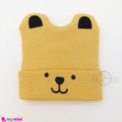 کلاه بافت گوشدار 2 لایه طرح پو زرد وارداتی Baby warm hat