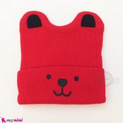 کلاه بافت گوشدار 2 لایه طرح پو قرمز وارداتی Baby warm hat